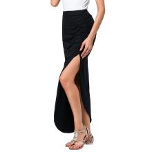 Kate Kasin Sexy Women's Side Split Long Maxi Skirt Irregular Hem Black Long Cotton Skirt KK000315-1
