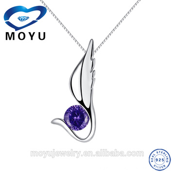 925 sterling silver single angel wing with aa cz silver pendant