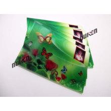 Tarjeta verde de la etiqueta engomada lenticular 2015 con la mariposa