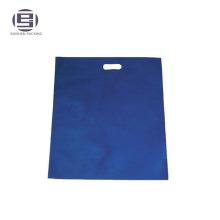 Cheap blue printed non-woven custom made shopping handle bags