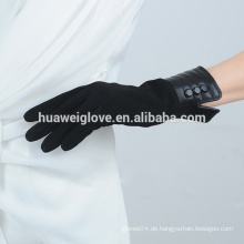 Mid-Long-Stil Handschuhe Frauen Mode klassischen schwarzen Leder Wildleder Handschuhe
