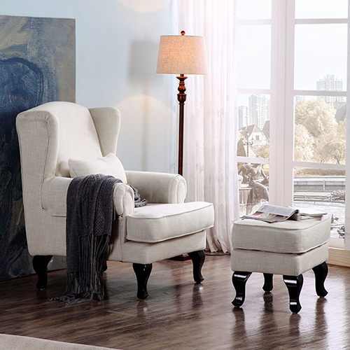 Wing Armchair With Footstool