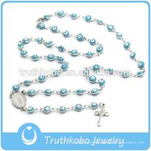 Bijoux de Noël Catholique En Plastique Esprit Eves Collier De Perles Bleus avec Jésus Sideway Croix Chapelet Collier