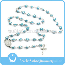 Christmas Jewelry Catholic Plastic Spirit Eves Blue Bead Necklace wih Jesus Sideway Cross Rosary Necklace