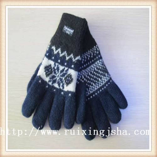 men's knitted acrylic fleece lining gloves