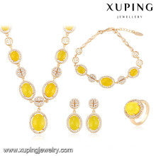 64009 Xuping fashion women copper alloy jewelry gold plated wedding luxury sets