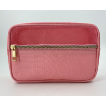 Pink Travel Mesh Translucent Cosmetic Bag Eco Friendly Recycled Bamboo Cotton Makeup Bag