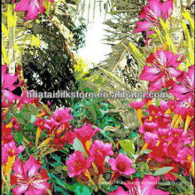 Tejido impreso digital de la seda impresa de la seda tropical de la selva