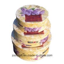 Bonito padrão de flor caixa de papel redonda Rígido Round Hat caixas de presente com tampa