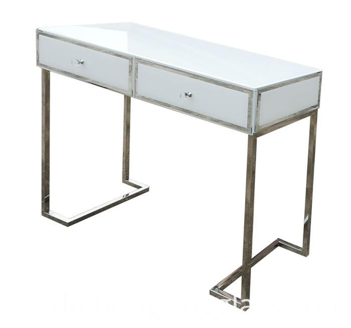 Dressing Table White Glass Metal Frame