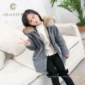 Haute qualité véritable fourrure parka luxe enfants