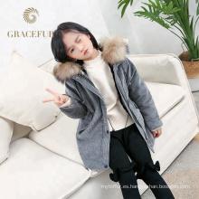 Parka de piel real de alta calidad para niños de lujo