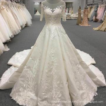 Maßgeschneiderte kurzarm königliche Hochzeit Kleid Brautkleid WT319