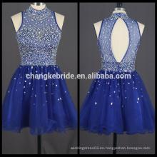 Nuevo vestido de partido de Bling Bling del vestido del baile de fin de curso del vestido de coctel corto azul real