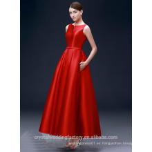 Alibaba Elegante largo nuevo diseñador de color rojo mangas manga roja una línea de vestidos de noche o vestido de dama de honor LE37