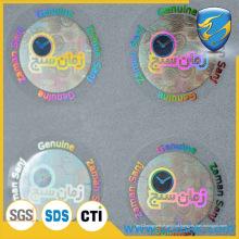 Etiqueta holográfica desqualificada, adesivo de holograma de alumínio transparente
