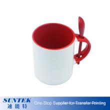 Wholesale 11oz Sublimation Ceramic Coating Mug 11oz Inner & Handle Color with Color Spoon Mug