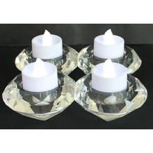 Crystal Tealight Holder with Four Poster