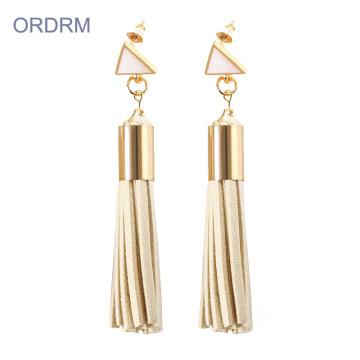 Handgemachte Damen lange Leder Quaste Ohrringe