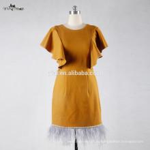 RSE694 желтый ткань креп платье Материал короткие Страусиных перьев колена Длина реальные изображения коктейльное платье