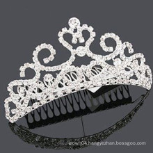 wholesale accessories silver plated crystal tiara hair barrette