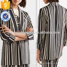 Официальный черный и белый в полоску хлопок длинный рукав Blazer куртка Производство Оптовая продажа женской одежды (TA0006J)