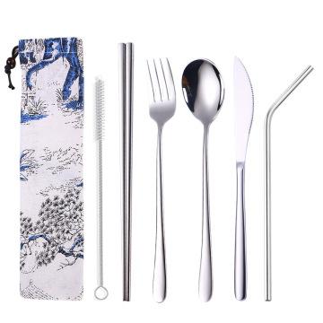 Cutlery set spoon fork knife straw set