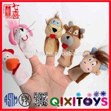 Marioneta linda del dedo de la manera del juguete del juguete del bebé fijada marioneta del dedo felpa rellena barata