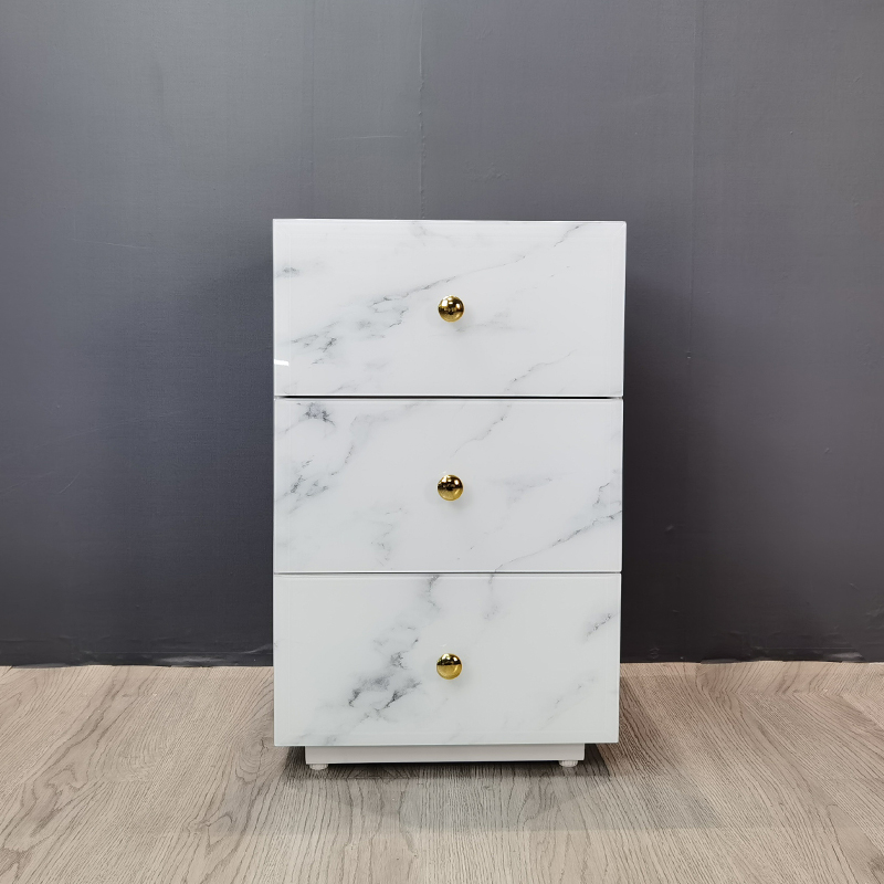 white marble 3 drawer bedside
