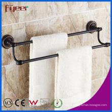Fyeer Black Series Bathroom Fittings Brass Double Towel Bars