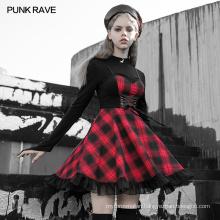 PUNK RAVE OPQ-704LQF girls sexy dark series mini vintage clothing plus size casual women bustier holder dress