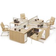The cross screen office desk, Teak wood desk finishing (KW826)
