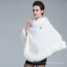 Леди мода искусственного меха зима трикотажные шаль пончо (YKY4456)