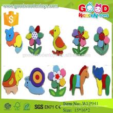EN71 standard funny cartoon animal wooden 3D puzzle for baby