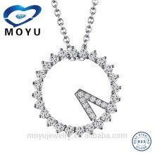 2015 New designs Clock Shaped Pendant with Chain Necklace with top Quality zircon