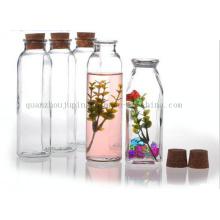 OEM Print Glass Wishing Milk Juice Bottle with Cork