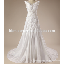 Luxury spaghetti straps lace sexy wedding dress for mature bride with small tail
