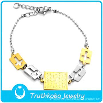 Venta al por mayor de dos tonos de encantos de la Biblia religiosa de acero inoxidable brazalete liso con accesorios colgante cruz en blanco