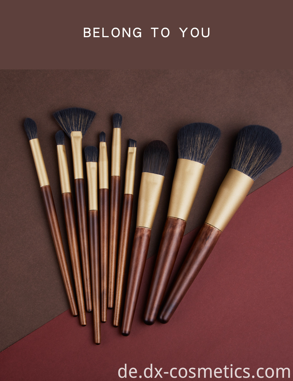 10 Pcs Wood Goat Hair Makeup Brush Sets 3