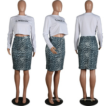 C6172 Sexy letter leopard printing long sleeve t shit tight 2 piece set woman dress