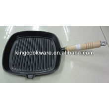 Cast Iron Grill Pan With Wooden Handle
