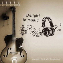 New Arrival Music Earphone Design Waterproof Decorative Stickers Pvc Room Decor vinyl Wall Sticker