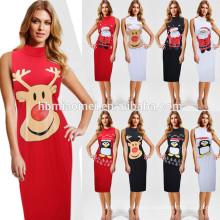 Estilo europeu Plain Cor Mid-calf Slim-line Pinguim Veados Pai Natal Impressão Roupas Femininas Vestido