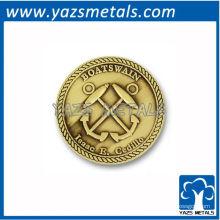 personalizar conmemorar monedas, moneda de anclaje personalizada con chapado de oro