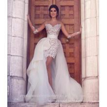 De manga larga de encaje con Tulle vestidos de novia de la falda desmontable 2016 Vestido De Noiva Sexy vestidos de novia de playa CWF2430