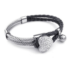 Steel wire with black genuine leather bracelet for women