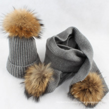 Hot selling winter hat with pom poms pure color wool knitted women winter hat and scarf set
