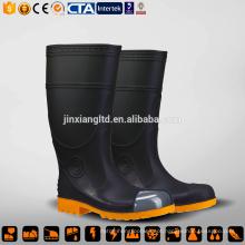 Botas de chuva pretas de segurança de moda amarelo
