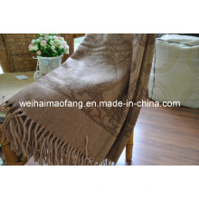 Woven Woolen Fringed Wool Travel Throw (NMQ-WT043)