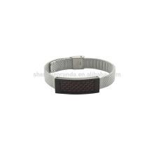 Bande en acier inoxydable de 10 mm unisexe regardé avec un bracelet en fibre de carbone rouge